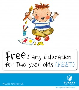 Free Early Education for Two Year Olds image, used on Panda Nursery's website. Panda nursery is in Limpsfield, near Oxted, Surrey